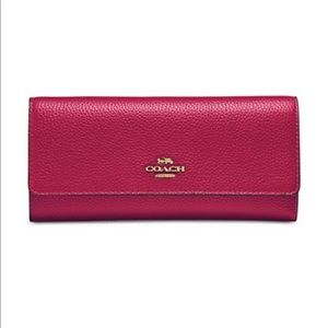 NWT COACH Bright Cherry Leather Trifold Wallet